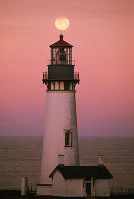 Photograph - Full Moon Over Yaquina Head Light by Natural Selection Craig Tuttle