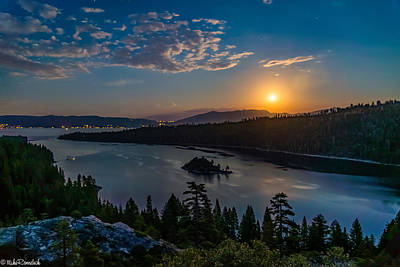 Full Moon Rising On Emerald Bay Print by Mike Ronnebeck