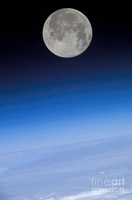 Earth From Space Photograph - Full Moon Seen From Space by NASA/Science Source