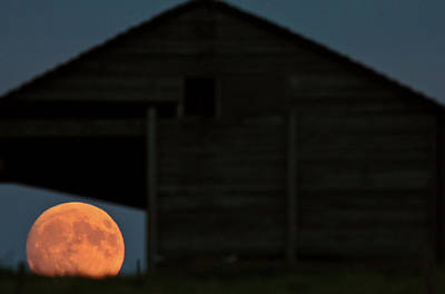 Full Moon Seen Through Old Building Window Print by Mark Duffy