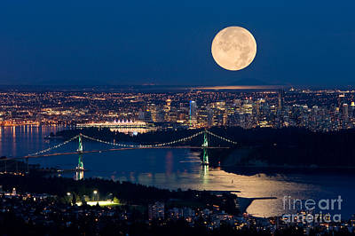 Full Moonrise Over Vancouver 6 Original by David Nunuk