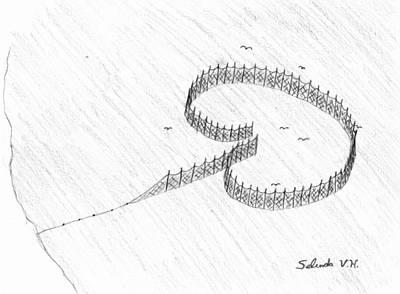 Herring Drawing - Full Of Fish by Selinda Van Horn