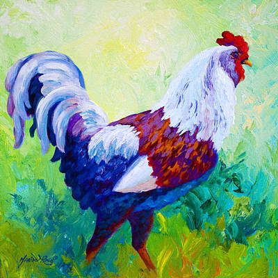 Full Of Himself - Rooster Print by Marion Rose