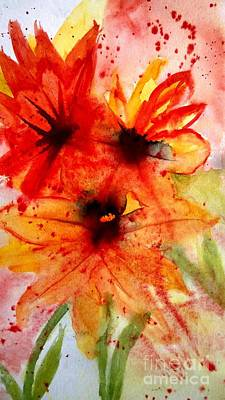 Wet Into Wet Watercolor Painting - Fun In The Garden by Eunice Miller