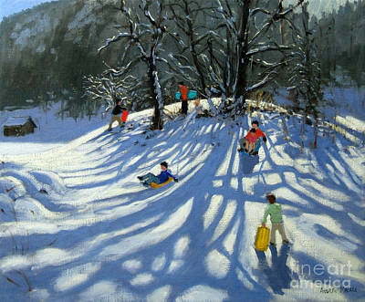 Mountain Valley Painting - Fun In The Snow by Andrew Macara