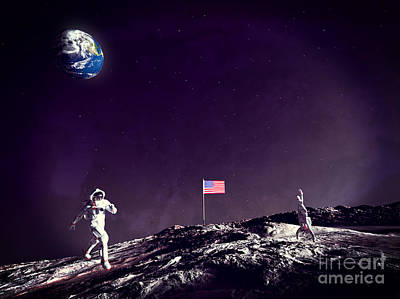 Astronauts Digital Art - Fun On The Moon by Methune Hively