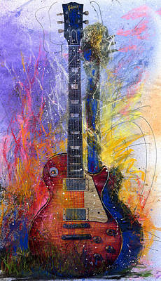 Guitar Painting - Fun With Les by Andrew King