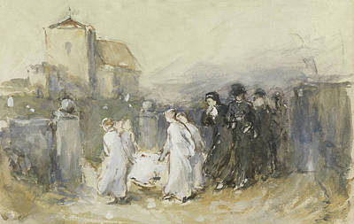 Watercolor Figure Painting - Funeral Of The First Born by Frank Holl
