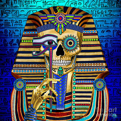 Egyptian Mixed Media - Funky Bone Pharaoh by Christopher Beikmann