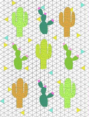 Desert Digital Art - Funky Cactus by Nicole Wilson