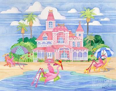 Coastal Birds Painting - Funky Flamingo Hotel II by Paul Brent
