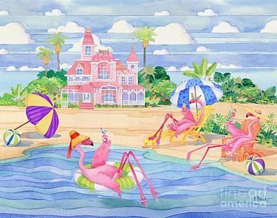 Coastal Birds Painting - Funky Flamingo Hotel IIi by Paul Brent