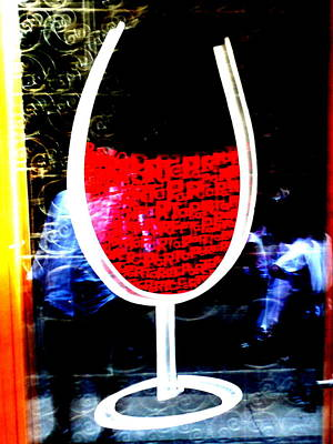 Funky French Red Wine Glass Print by Funkpix Photo Hunter