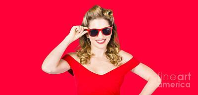 Red Lipstick Photograph - Funky Hip Pin-up Blonde In Summer Sunglasses by Jorgo Photography - Wall Art Gallery