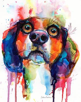 Painting - Funny Beagle Dog Art by Svetlana Novikova