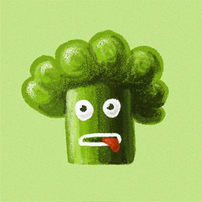 Funny Broccoli Print by Boriana Giormova