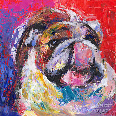 Custom Pet Portrait Drawing - Funny Bulldog Licking His Hose Painting by Svetlana Novikova