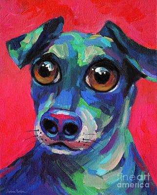 Funny Dachshund Weiner Dog With Intense Eyes Original by Svetlana Novikova