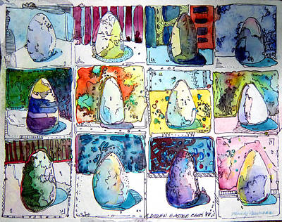 Funny Eggs Print by Mindy Newman
