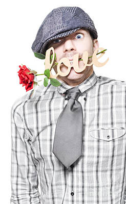 Funny Man Saying Sorry With Love And A Red Rose Print by Jorgo Photography - Wall Art Gallery