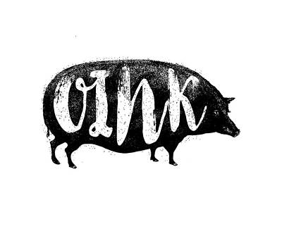 Piglets Drawing - Funny Oink Pig by Antique Images
