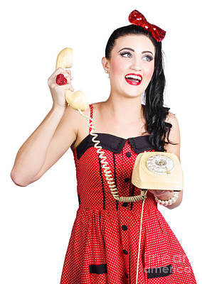 Funny Pin-up Woman Talking On Retro Phone Print by Jorgo Photography - Wall Art Gallery