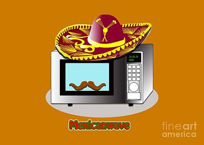 Electronic Drawing - Funny Design Puns Mexican Wave Microwave by Paul Telling