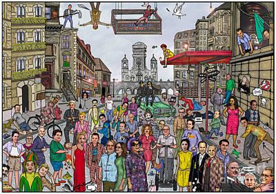 Funny Tv And Movie Stars Print by Matan Kohn