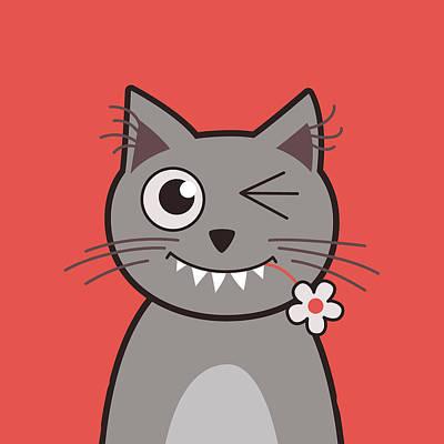 Funny Cat Digital Art - Funny Winking Cartoon Kitty Cat by Boriana Giormova
