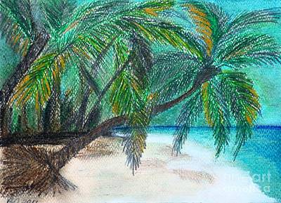Hearts On Trees Drawing - Further Down The Beach by Barbara Donovan