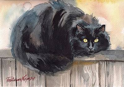 Cat Images Painting - Fuzzy Black Cat by Yuliya Podlinnova