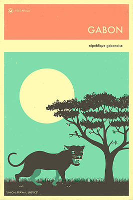 Panther Digital Art - Gabon Travel Poster by Jazzberry Blue