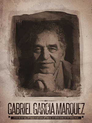 Poster Digital Art - Gabriel Garcia Marquez by Afterdarkness