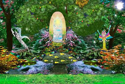 Gaia Digital Art - Gaia Goddess Garden by Eliza Lily G