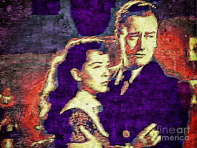Gail Russell And John Wayne - Vintage Painting Print by Ian Gledhill