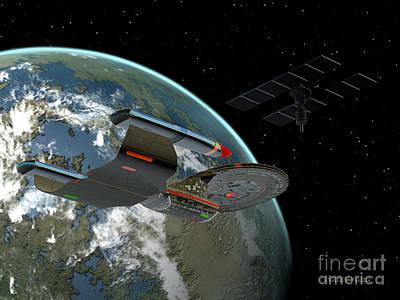 Jet Star Digital Art - Galaxy Class Star Cruiser by Corey Ford