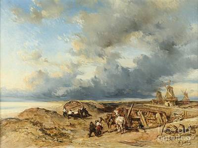 Horse Drawn Carriage Painting - Horse-drawn Carriage On The Beach by Celestial Images