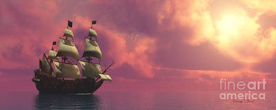 Galleon Ship With Sails Print by Corey Ford