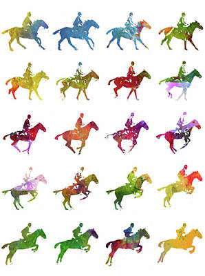Horse Racing Digital Art - Galloping Gait Terrestrial Locomotion - White by Aged Pixel