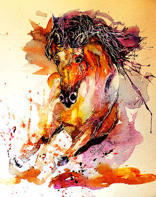 Red Abstract Painting - Galloping Horse by Steven Ponsford