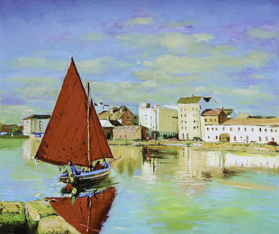 Galway Hooker Reflections Print by Conor McGuire
