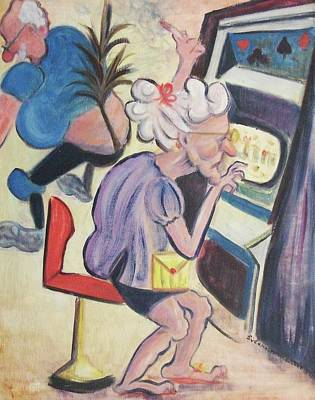 Las Vegas Artist Painting - Gambling Lady by Suzanne  Marie Leclair