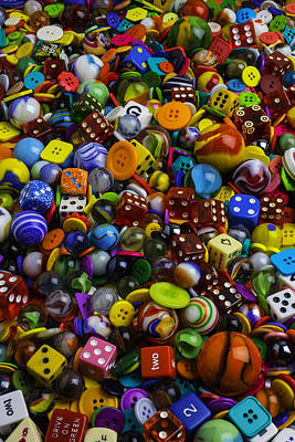 Game Dice Marbles And Buttons Print by Garry Gay