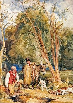 Girl Painting - Game Keeper And Boy Ferreting  by John Frederick