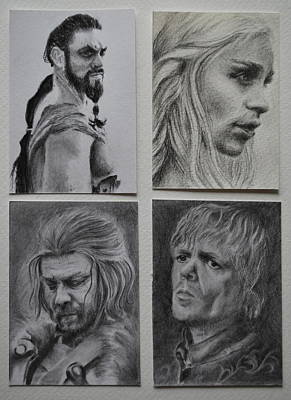 Tyrion Lannister Drawing - Game Of Thrones Group by Lynn Hughes