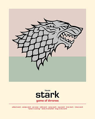 Game Of Thrones Poster House Stark Sigil - Winter Is Coming Print by Beautify My Walls