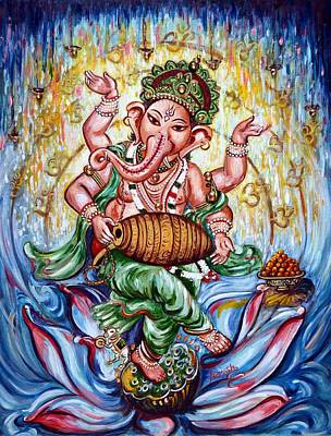 Devotional Painting - Ganesha Dancing And Playing Mridang by Harsh Malik