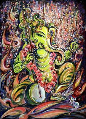 Devotional Painting - Ganesha - Playing Tanpura by Harsh Malik