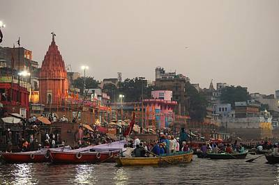 Cremation Ghat Photograph - Ganges Boats by John And Laurel Rodgers