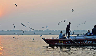 Cremation Ghat Photograph - Ganges Sunrise by John And Laurel Rodgers